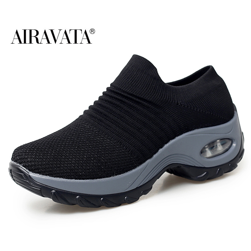 Black-Women's walking shoes Fashion Casual Sport Shoes Platform Sneakers