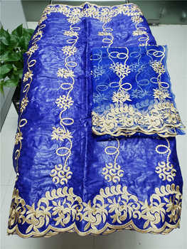 Factory offers Popular Gezner African Bazin riche lace with beads fabric with scarf for Woman Party Dresses 5+2Yds/pcs Royalblue
