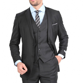 Black Business Party Men Suits New Notched Lapel Custom Made Three Piece Formal Wedding Groom Tuxedos (Jacket + Pants +Vest)