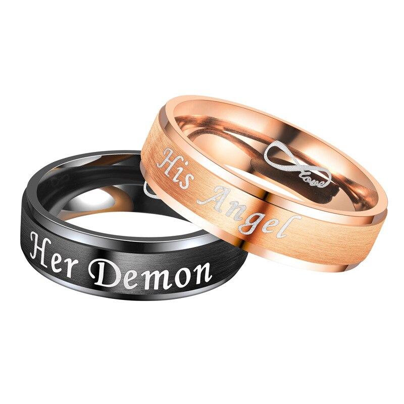 Frauen Ring Brief Ringe Mann Ihr Dämon Seine Engel Mode Schmuck Hochzeit Paare Nette Gold Farbe Metall Edelstahl Anillos