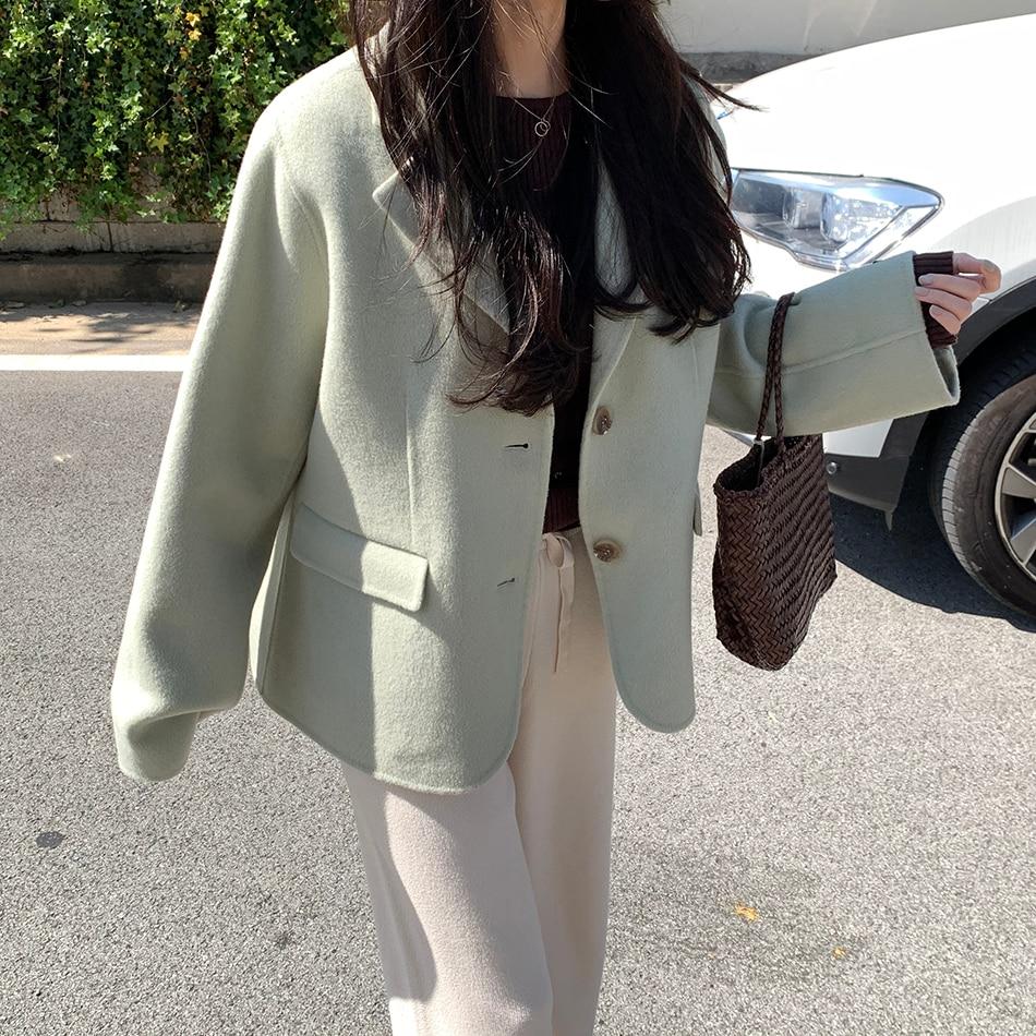 H79dcdd95200446f4b17ddf27efebe593R - Winter Korean Revers Collar Solid Woolen Short Coat