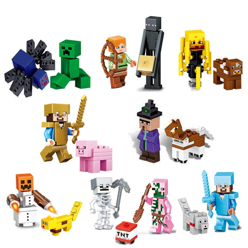 The Diamond Steve Ghast Zombie Slime Minifigs Building Block Action Figure Compatible My World MinecraftINGlys Bricks Set Toys