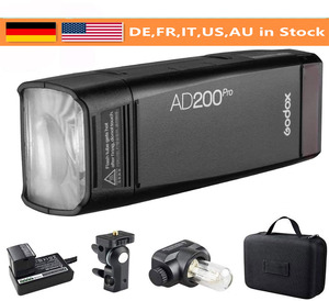 Godox AD200Pro TTL 1/8000 HSS con sistema X inalámbrico incorporado 2,4G luz Flash exterior con batería Lithimu de 2900mAh