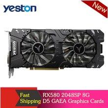 Yeston RX580 2048SP 8G D5 GAEA Card Đồ Họa Radeon Lạnh Polaris 20 Quạt Đôi Làm Mát 8GB GDDR5 256bit DP * 3/HD/DVI D