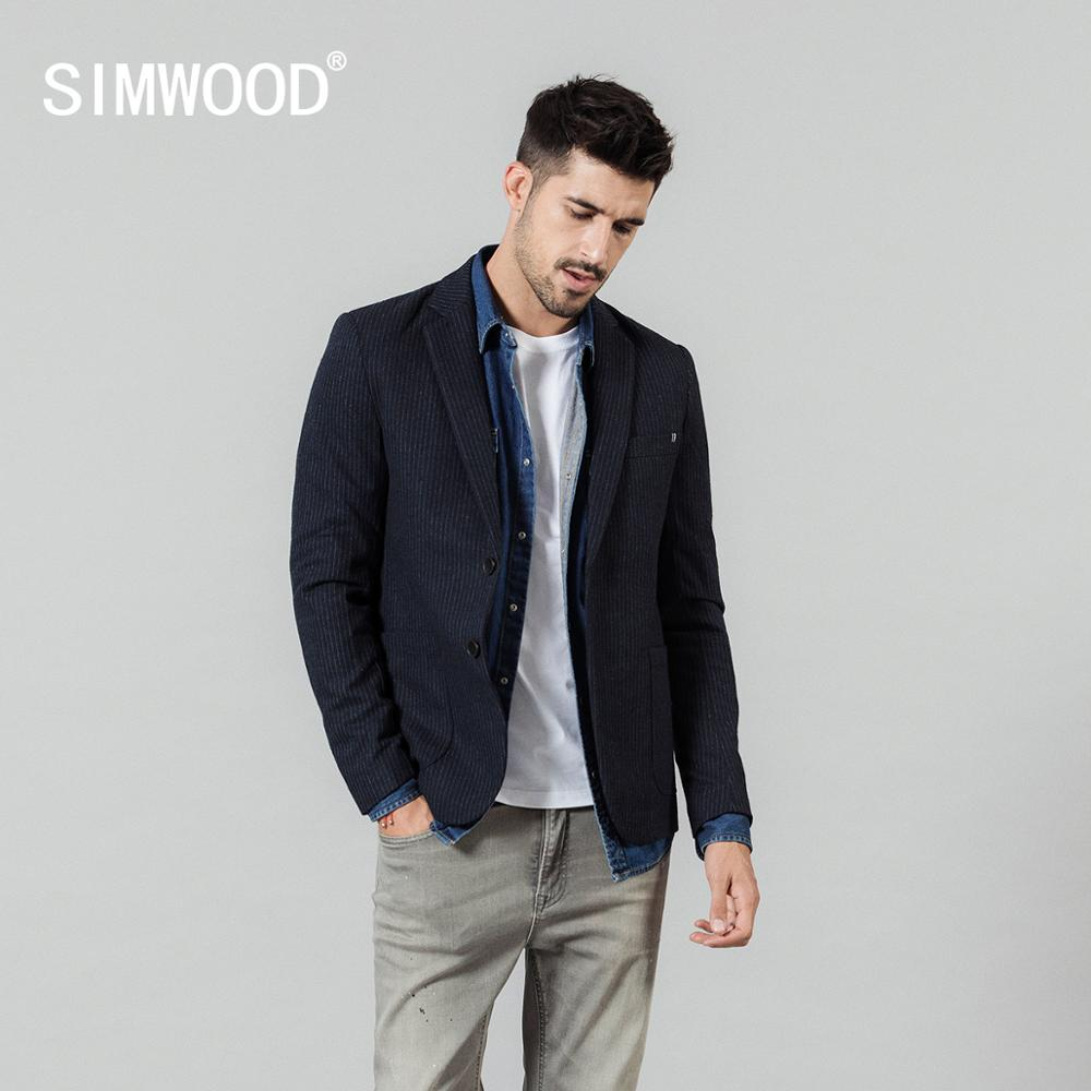 SIMWOOD 2019 Autumn Winter Vertical Striped Blazer Men Mix Wool Casual Jackets High Quality Plus Size Brand Clothing C