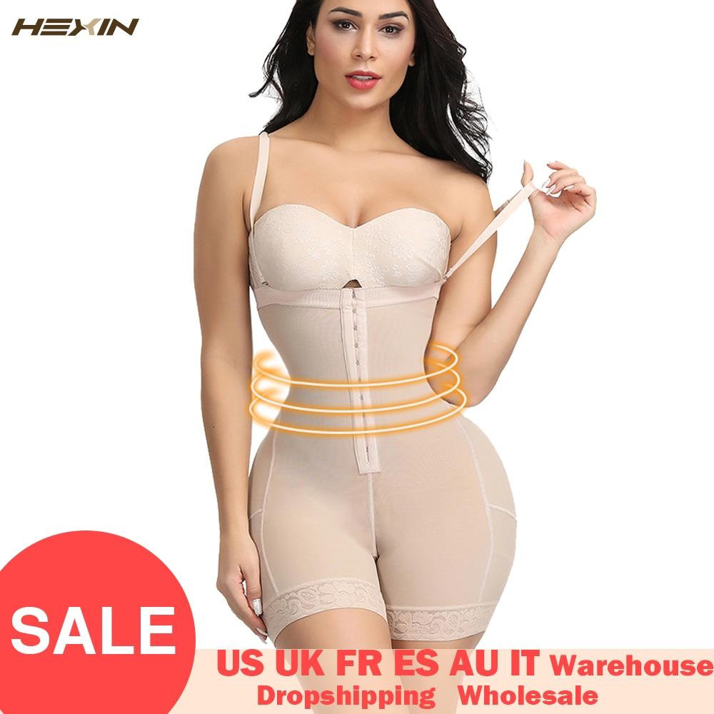 HEXIN Plus Size Women Full Body Shapewear Underbust Slimming Mid Thigh Shaper FajasTummy Control Seamless Postpartum Body Girdle