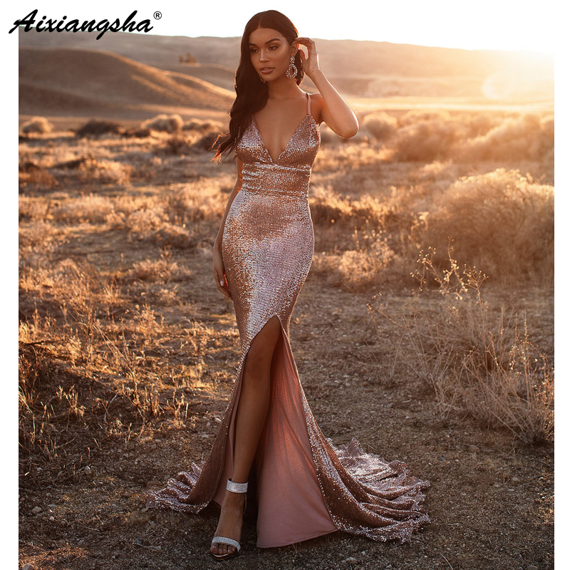 Blush 2019 Prom Dresses Long V-Neck High Slit Sexy Backless Prom Gown Sequin Evening Dress Robe De Soiree