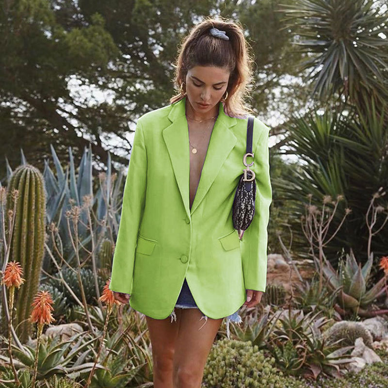 Women Blazer Oversize 2019 Autumn Long Coat Sexy Simple Candy Color Slim Long-sleeved Suit Kendall Fashion Avocado Green Blazer