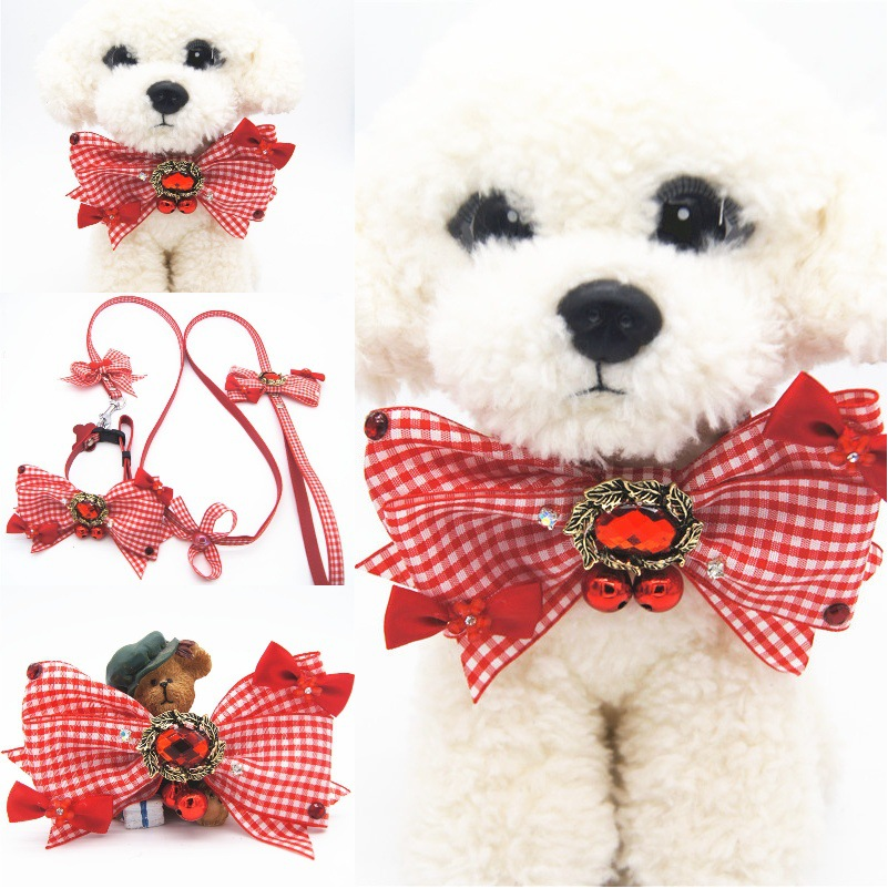 Red And White Plaid Handmade Bow Bowtie Pet Collar With Dog Hand Holding Rope