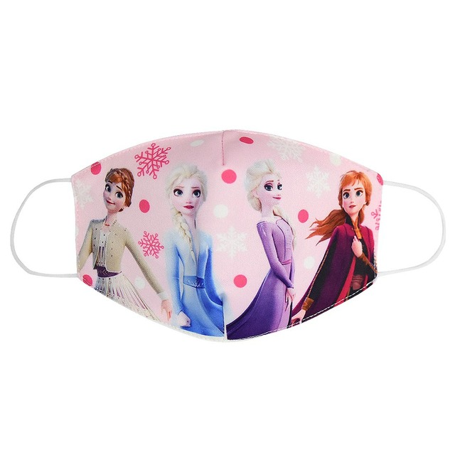 Cartoon Face Dustproof Breathable Mask for Kids Girl Adult Snow Queen Mouth Masks Festive Party Girls Sunscreen Anna Elsa Mask 1