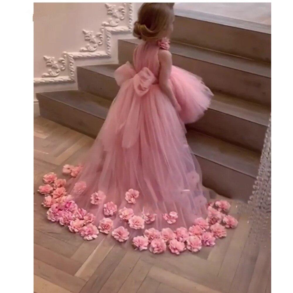 Pretty 3D Flower Tutu High Low Girls Pageant Dresses High Collar Puffy Tulle Flower Girl Dresses 2019 Communion Dresses Pretty