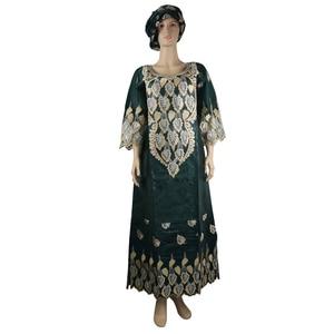 Image 4 - MD african bazin riche vestidos africanos tradicionales para mujer, bordado dashiki vestido largo, vestidos de talla grande para mujer