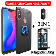 3-in-1 Glass + Magnetic Silicone Case for Xiaomi Mi A2Lite phone Redmi 7A Full Cover xiaomi mi a2 lite magnetic ring