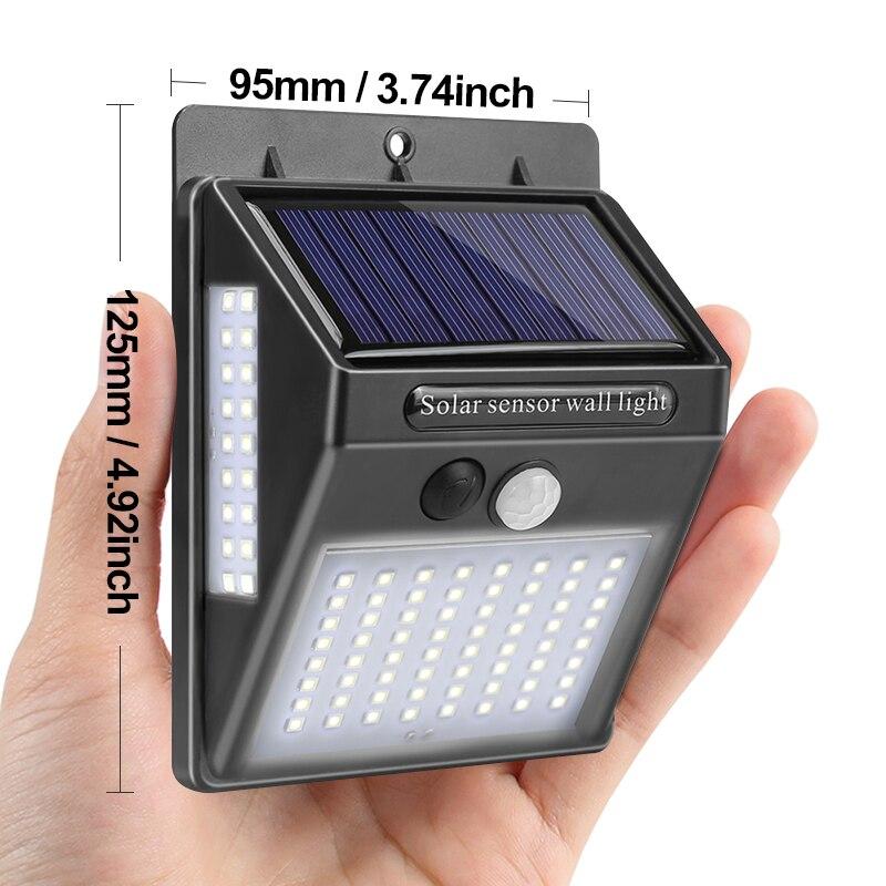 100 светодиодный светильник на солнечной батарее, уличный светильник на солнечной батарее, настенный светильник с датчиком движения PIR, водонепроницаемый светильник на солнечной батарее для украшения сада