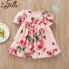 ZAFILLE Kids Clothes Short Sleeve Girls Dress Floral Print Summer Dress Cute Baby Girl Clothes Infant Kids Clothes Toddler Girls lovely toddler kids baby girls pumpkin floral dress party short sleeve dress sundress halloween cute clothes summer suit