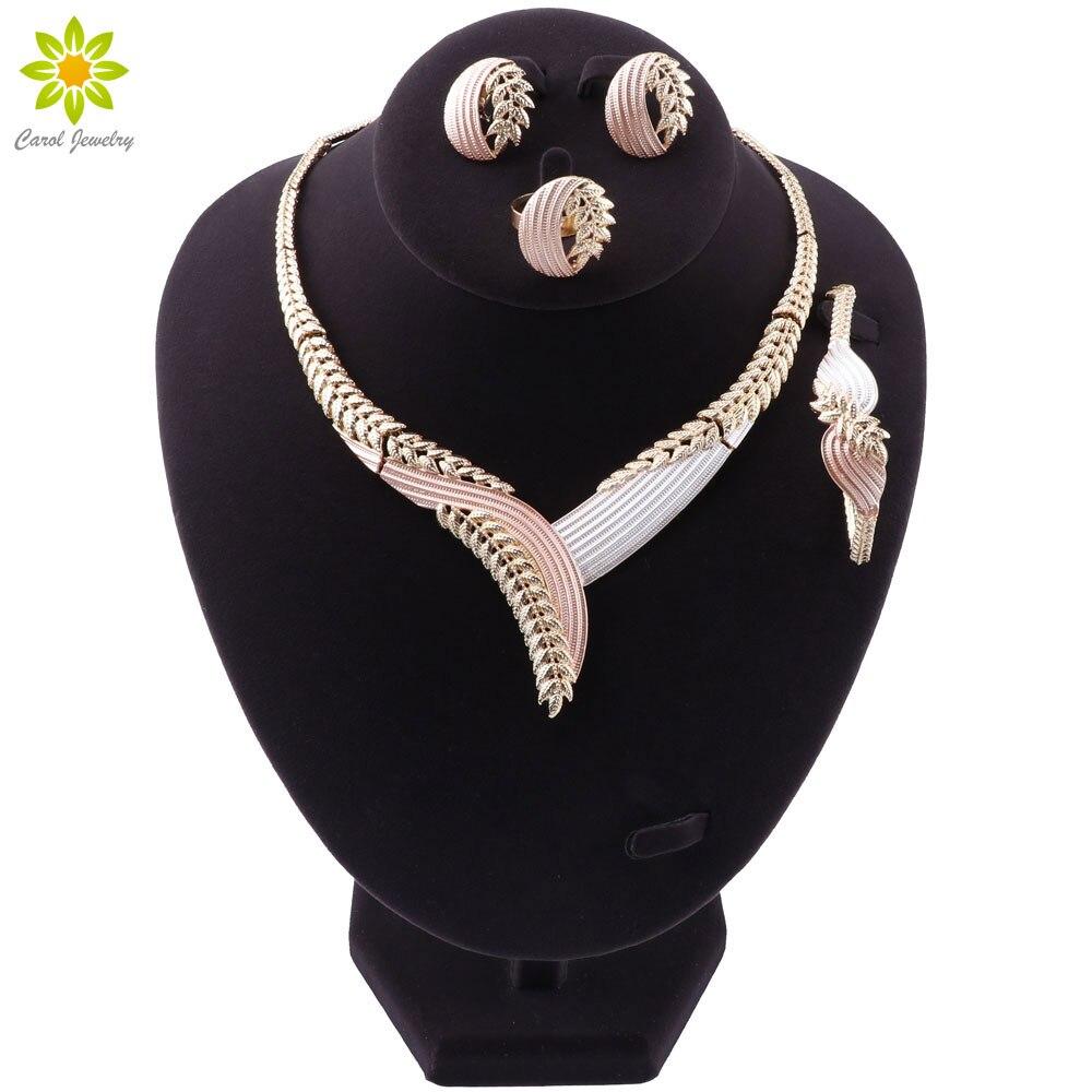 Fashion Nigerian Women Wedding African Beads Jewelry Set Gold Color Necklace Earrings Bracelet Ring Dubai Bridal Gift