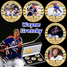 5pcs Great Ice Hockey Player Gold Plated Commemorative Coin Set with Coin Holder Canadian Sports Souvenir Coin Gift for Him Fans
