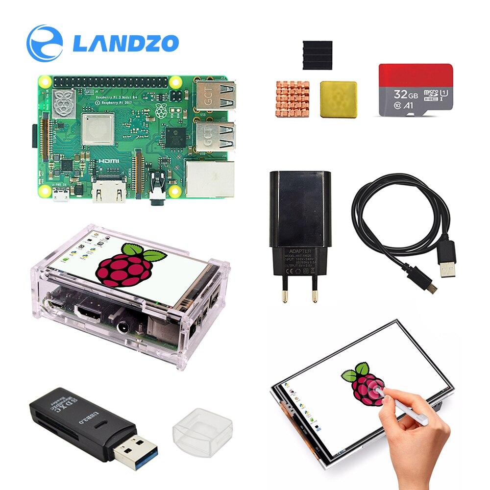 Raspberry pi 3b plus modo 3.5 polegada tela base kit com caixa protetora 32g tf cartão e multi-cartão leitor e dissipador de calor energia da ue