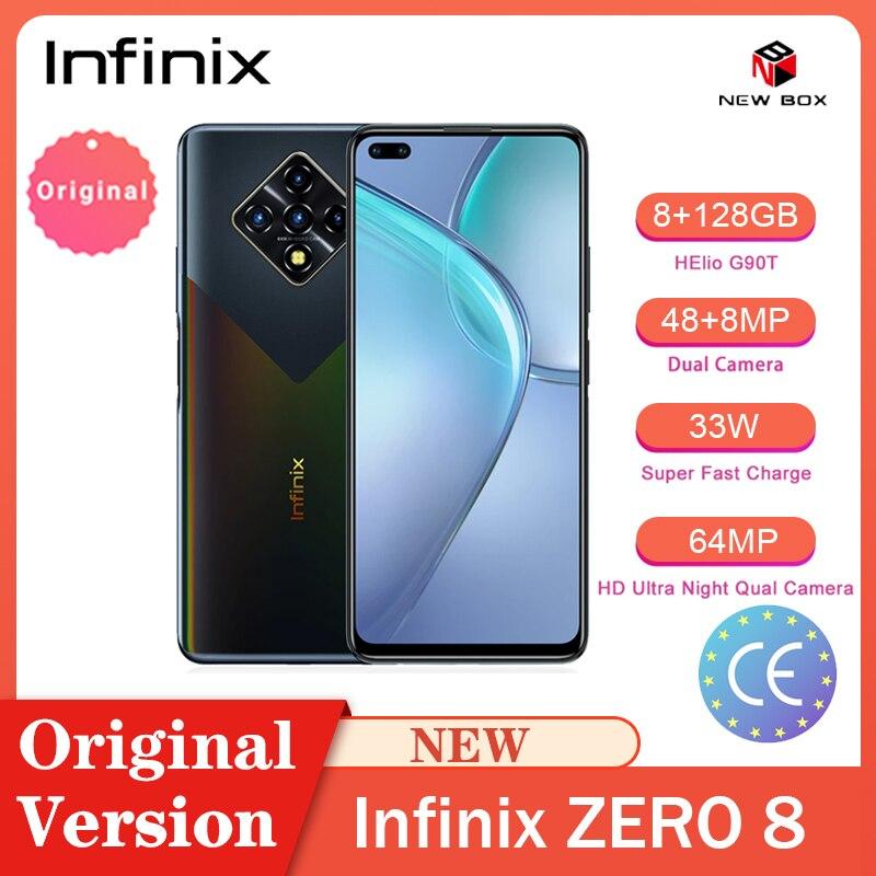 Infinix ZERO 8 смартфонов 6,85 дюймов 8 ГБ ОЗУ 128 Гб 64 Мп задняя камера Helio G90T 33 Вт Супер зарядка Android Мобильный телефон