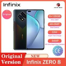 Infinix zero 8 smartphones 6.85 Polegada 8gb ram 128gb 64mp câmera traseira do quadrilátero helio g90t 33w carga super android