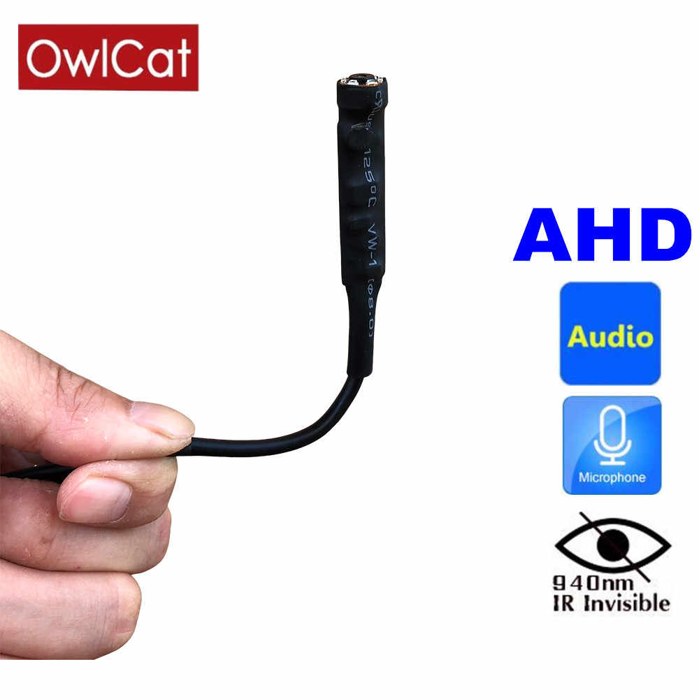 OwlCat Super Mini AHD CCTV cámara HD 720P incorporado 940nm Invisible infrarrojo IR-LED visión nocturna con micrófono de Audio lente de 3,7mm
