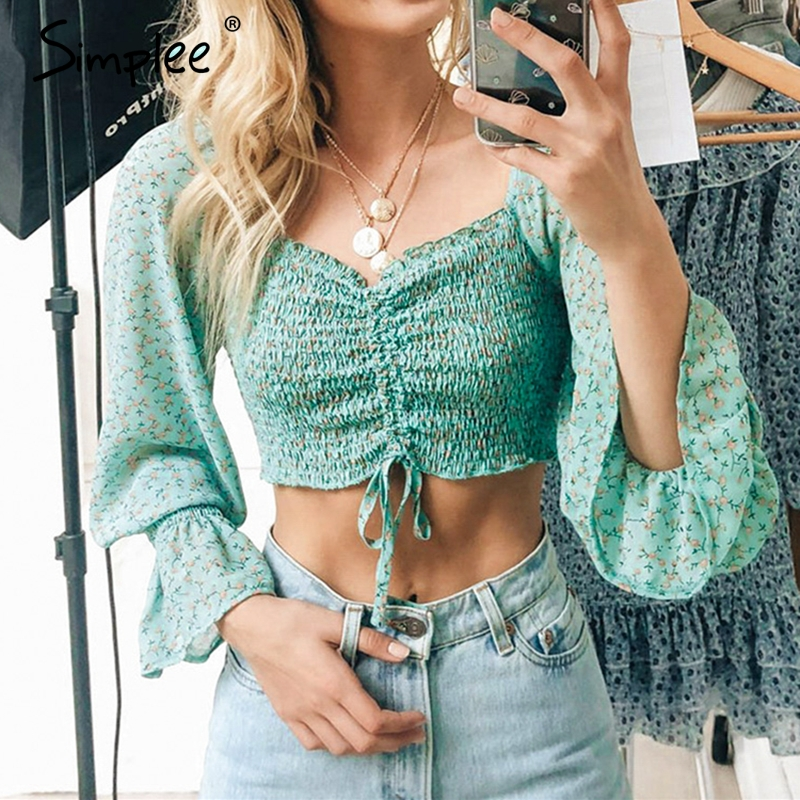 Simplee Elegant Chiffon Long Sleeve Floral Print Blouse Women Sexy Female Crop Top Ladies Holiday Casual Square Collar Blouse