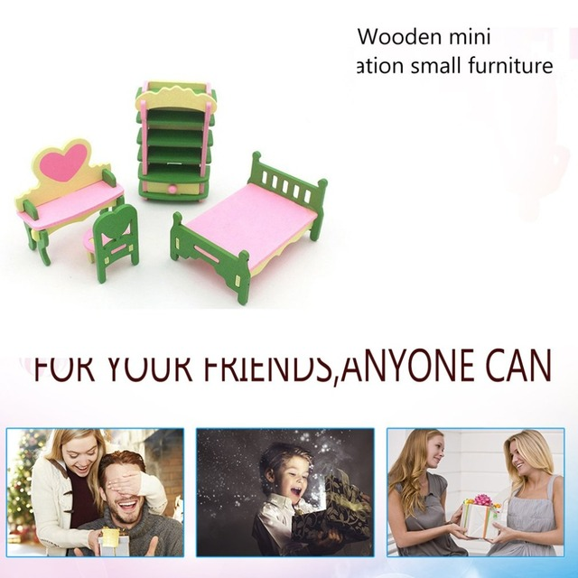 Kids Pretend Role Play House Wood Toy Set Kitchen Babies Room Living Room Mini Ornaments Toys Kit Birthday Gift 1