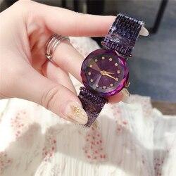 Marca D di lusso camaleonte di alta qualità di cristallo di vetro orologi al quarzo gem cut geometria di modo viola in acciaio orologio donna