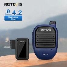 Retevis microfone portátil hk009 com bluetooth, walkie talkie, sem fio, com adaptador ptt para kenwood baofeng uv82 bf888