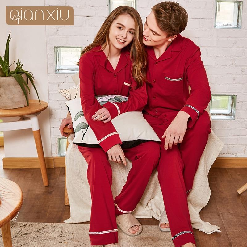 Autumn Couple Models Men's Long-sleeved Pajamas Set Cotton Wedding Birthday Year Home Service