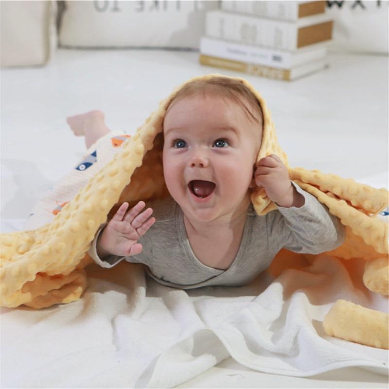 Double Layer Minky Dot Velvet Baby Blanket Warm Soft Cotton Plush Quilt Screaming Rabbit Toys Newborn Stroller Cover 110*140 Cm
