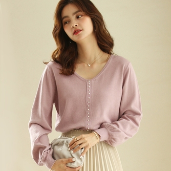 New Women Beading Pearl V Neck Loose Knitted Pullover Sweater Casual Fashion Autumn Pink Blue Lantern Sleeve Jumper Fema