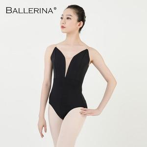 Image 3 - Ballet práctica leotardo mujeres danza traje Sling danza negro leotardo adultos niñas gimnasia leotardo bailarina 5040