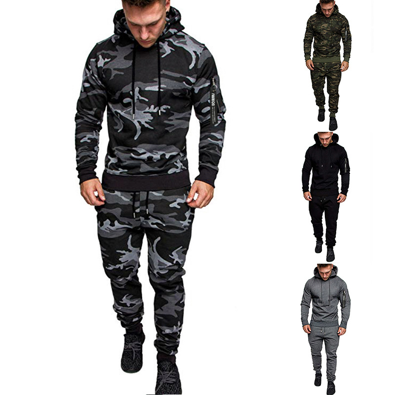 Ouma Hooded Wei Solid Color Versatile Gymnastic Pants Set Camouflage Sports Set Hoodie Two-Piece Set