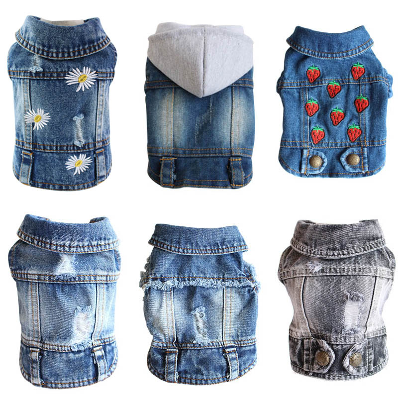 XS-2XL Denim Dog Clothes Cowboy Pet Dog Coat Puppy Clothing For Small Dogs Jeans Jacket Dog Vest Coat Puppy Outfits Cat Clothes
