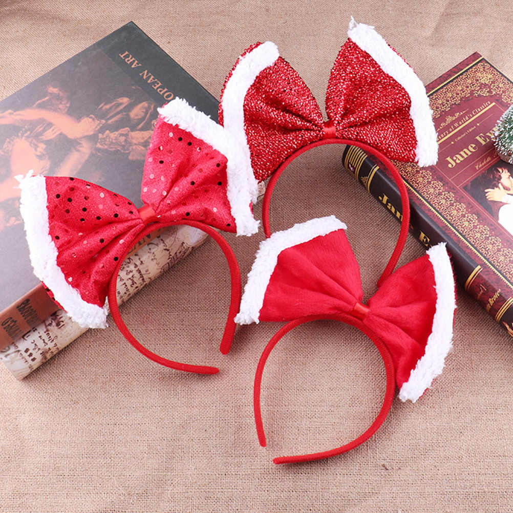 9pcs Christmas Headbands Hair Hoop Bowknot Design Hair Accessories for Kids Girls (Red)