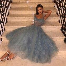 Thé longueur bleu robe De bal 2020 bretelles Spaghetti Vestido De Festa Simple formelle robes De soirée Occasion spéciale robes De bal