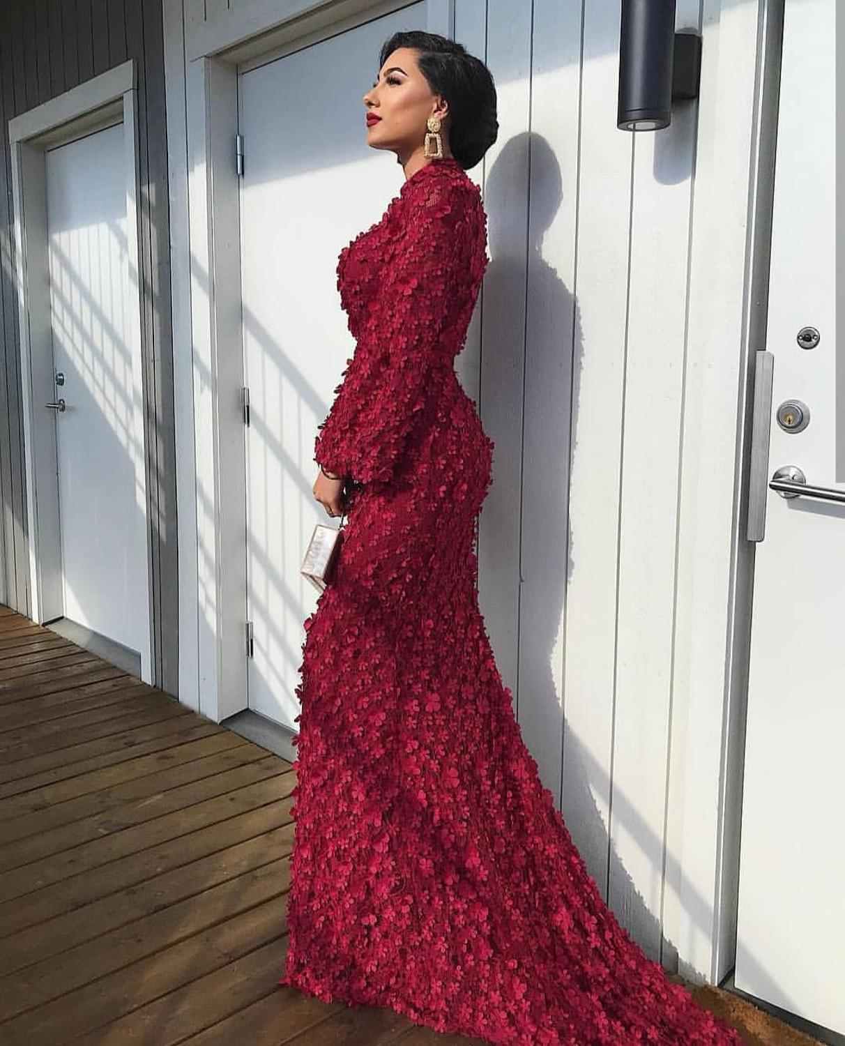 Fashion Muslim Burgundy Pink Mermaid Evening Dresses 2019 High Neck Women Flowers Pearls Lace Long Sleeve Evening Party Gowns