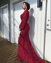 Mode Moslim Bordeaux Roze Mermaid Avondjurken 2019 Hoge Hals Vrouwen Bloemen Parels Kant Met Lange Mouwen Avond Party Jurken