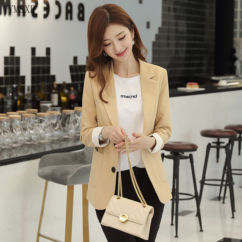 Casual lady yellow blazer feminine 2020 New Fashion Single Breasted Loose Women's Jacket Coat Female Small suit