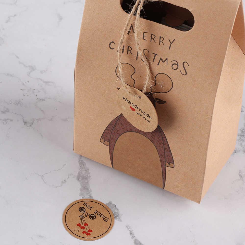 100 chiếc 'Thank you' 'Handmade' với Trái Tim Đỏ Trang Trí Treo Thẻ Thẻ Giấy Kraft Tặng Thẻ Tiệc Cưới Giấy Treo các thẻ Giá Nhãn