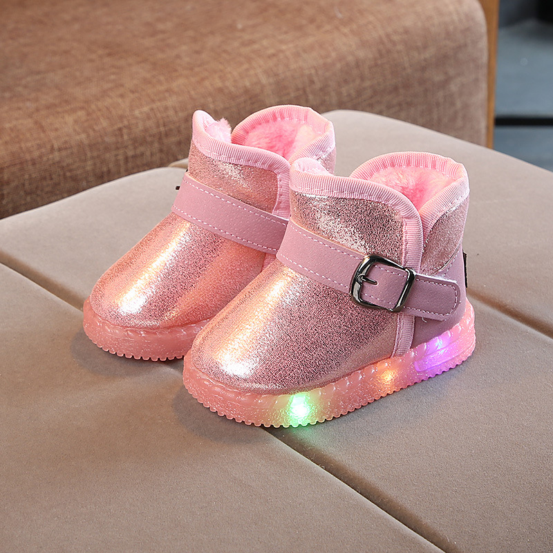 Children's Light Up Non-slip Warm PlushBoots 2019 New Toddler Girls Led Snow Boots  Baby Cotton Boots Kids Light Boots