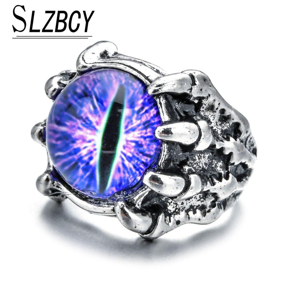 Мужское кольцо в стиле панк, Винтажное кольцо в стиле ретро, с кристаллами, в виде когтя дракона, Злого Глаза, дьявола, змеи, животного, ювелир...