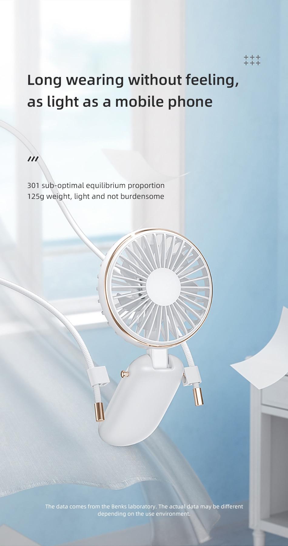 Benks F16 Mini USB Fans Mobile Handheld Fan Hanging Neck Lazy Outdoor Fan Air Cooler Rechargeable Foldable Desktop Office Fans (11)