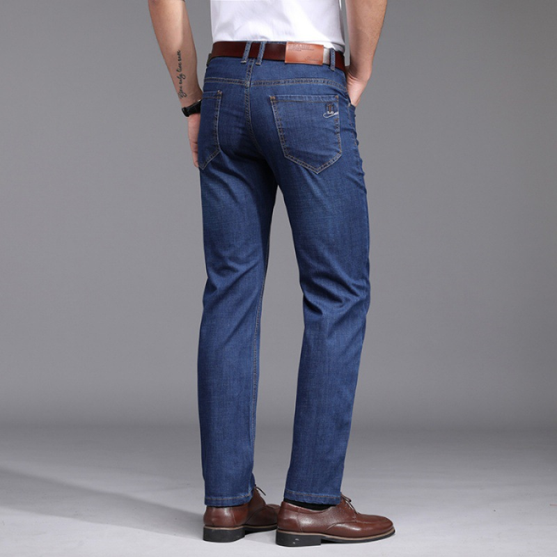 Spring New Style Jeans Men's Straight-Cut Loose-Fit Stretch Pants Men's Summer Business Casual Pants Men's 5307 Blue
