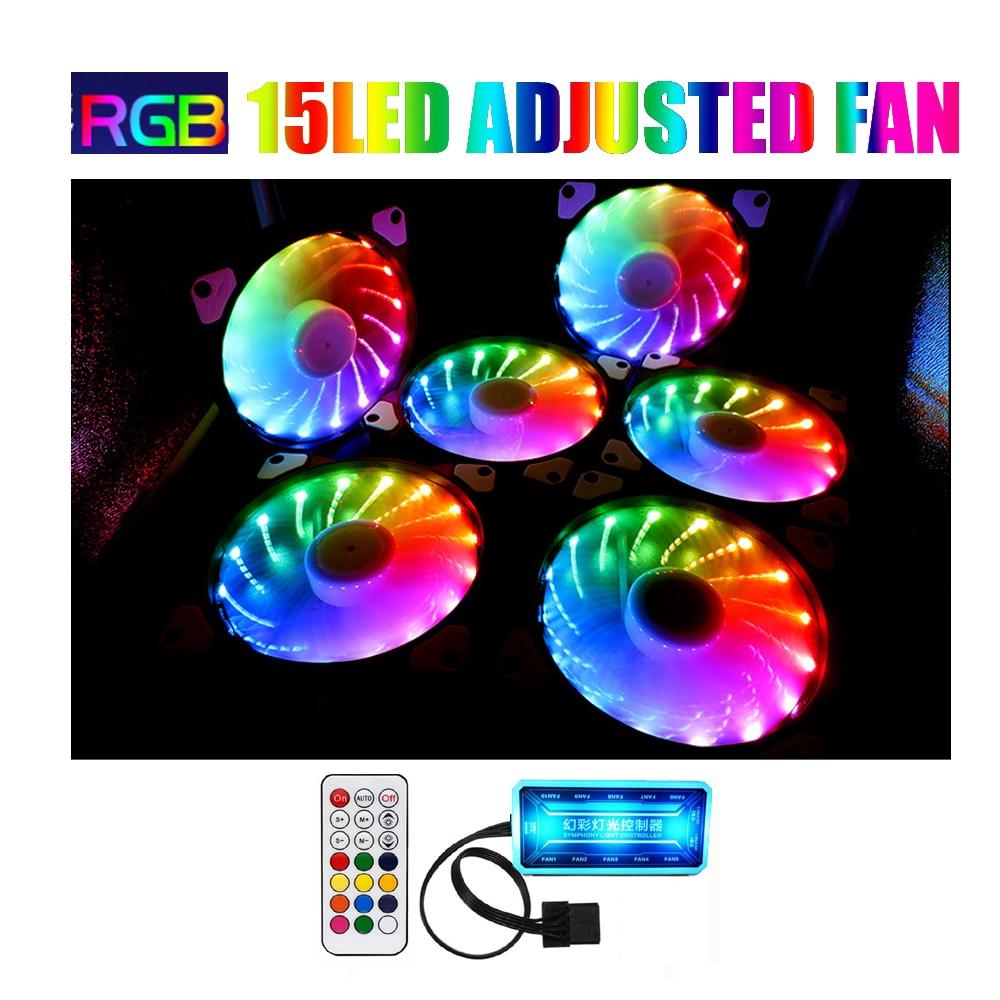 RGB Fan 120mm Set Adjusted 15LED Cooler 12cm Computer Case PC Cooling Fan Quiet  Remote Fan Sync Led Hub 12cm RGB Game Case Fan