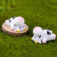 Modelo Animal de jardín de hadas, Micro paisaje artesanal, pequeña estatua de bonsái, ornamento, estatuillas de vaca en miniatura para ganado lechero