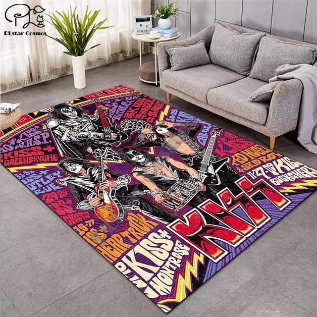 KISS Rock-tapis de sol 3D antidérapant, doux, pour salle à manger, salon, chambre denfant, doux, pour salle à manger ST05