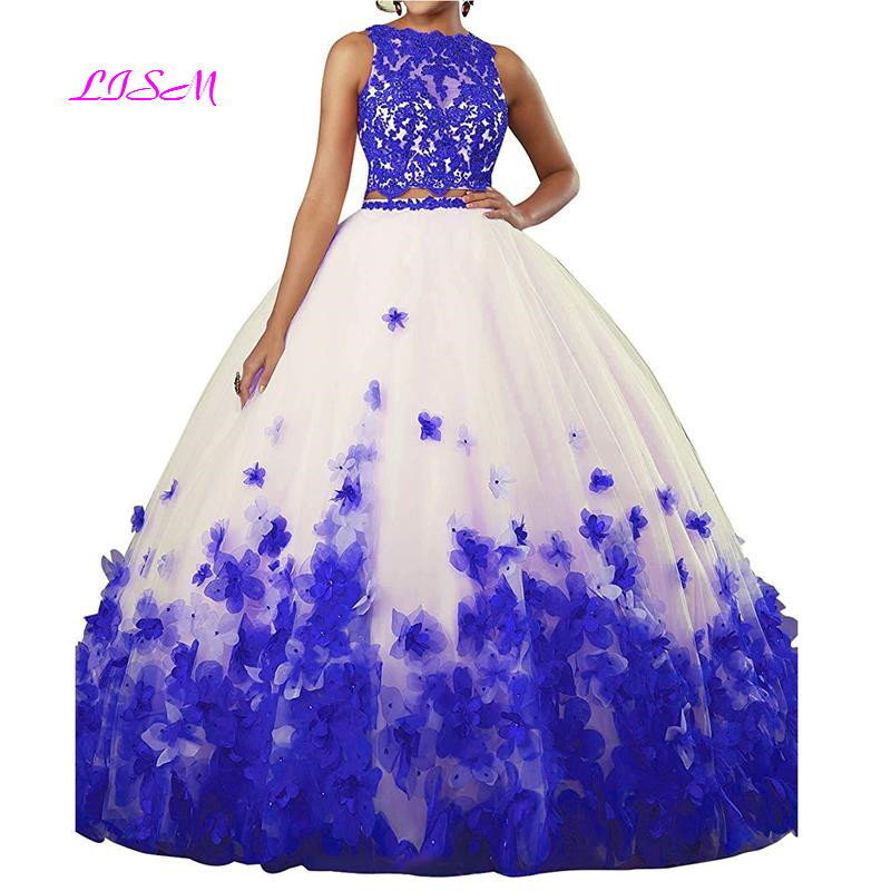 Image 3 - Sweet vestido debutante Ball Gown Two Pieces Organza Quinceanera Dress O neck Long 3D Flowers Sweet 16 Dress Vestidos De 15 Anos-in Quinceanera Dresses from Weddings & Events