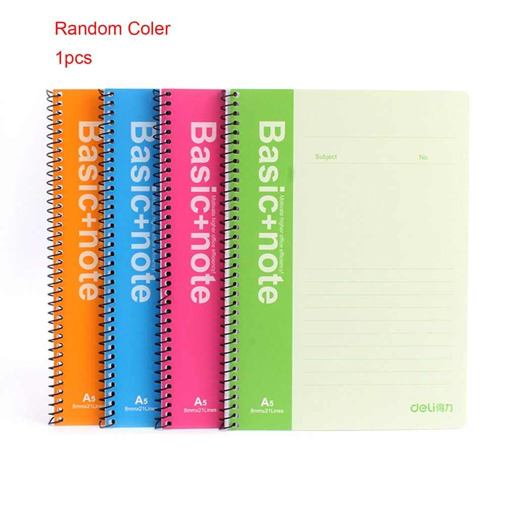 Deli 7684 A5 Spiral Notebook 80 Sheets Pocketbook Records Notes Students School Study Stationery Paper Cover Composition Book